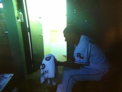Alexi Ogando Bathroom Shot Game 2 ALCS